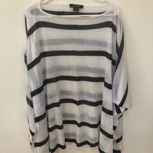 Ralph Lauren White and blue striped poncho